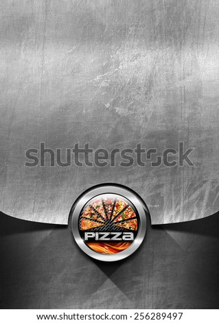 Pizza menu design with metallic round pizza symbol with flames on steel brushed background - stock photo