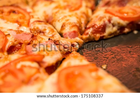 Pizza Missing A Piece Close Up - stock photo