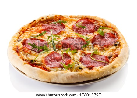 Pizza on white background  - stock photo