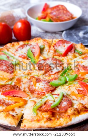 pizza pepperoni  - stock photo