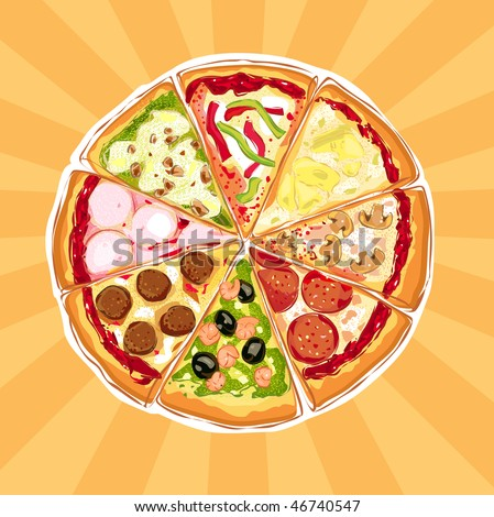 Pizza Pie With Different Toppings - stock photo