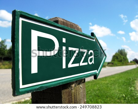 PIZZA road sign - stock photo