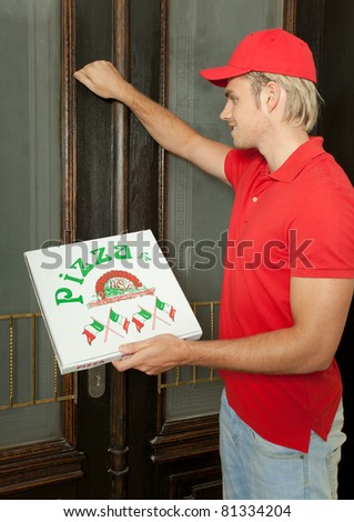 pizza service - stock photo