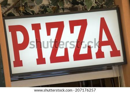 Pizza sign in a italian restaurant - stock photo