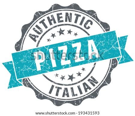 Pizza turquoise grunge retro style isolated seal - stock photo