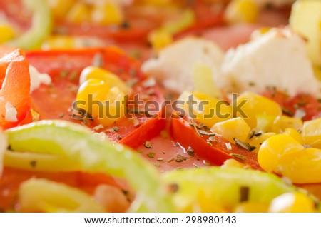 Pizza vegetarian close up - stock photo