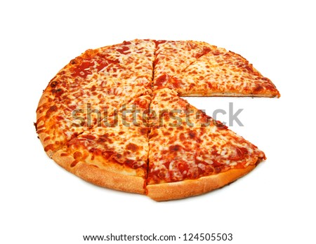Pizza with a slice removed. Isolated on white. - stock photo