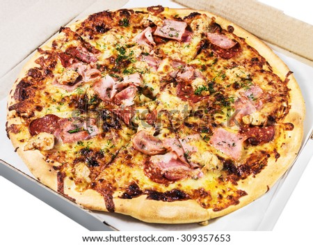 Pizza with bacon in box on a white background - stock photo