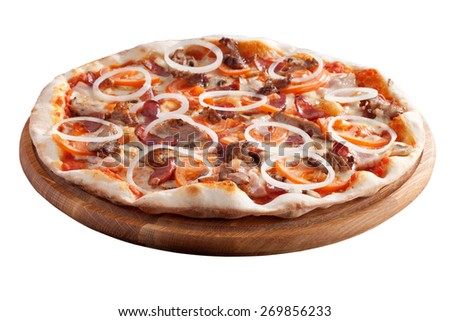 pizza with bacon tomato and onion - stock photo