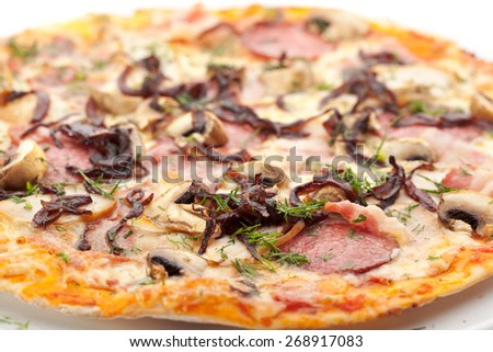 Pizza with Barbecue Chicken, Sausage, Bacon, Onions and Mushrooms - stock photo