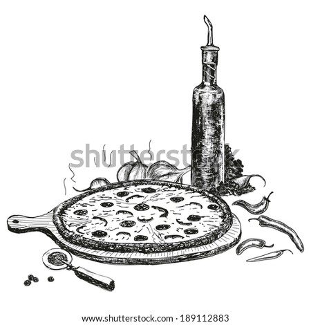 Pizza with bottle of garlic oil - stock photo