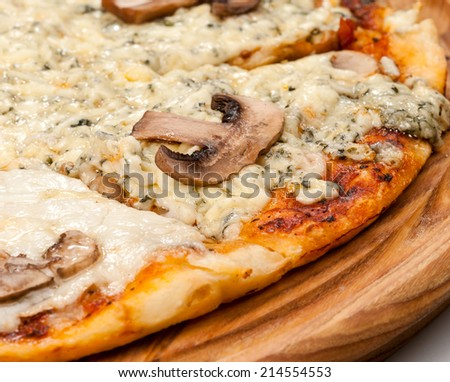 pizza with chicken and mushrooms - stock photo