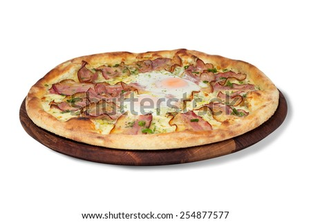pizza with eggs and meat on a white background isolated   - stock photo