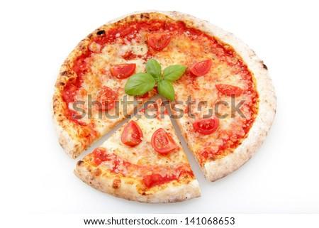 pizza with fresh tomato and mozzarella cheese on white background - stock photo