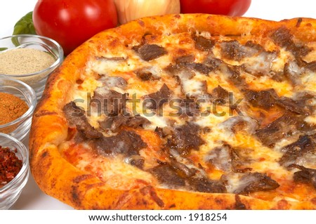 pizza with meat and cheese - stock photo