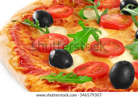 Pizza with mozzarella and arugula. Vegetarian pizza. Macro. - stock photo