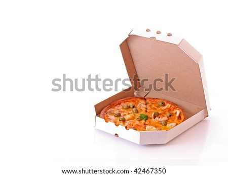 Pizza with olives in the box - stock photo