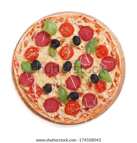 pizza with salami, tomato, cheese, olives and basil isolated on white background. top view   - stock photo