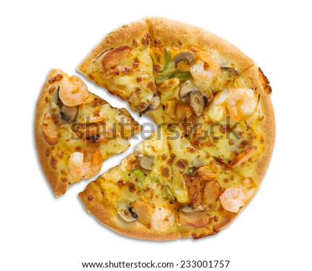 pizza with seafood isolated on white with clipping path - stock photo