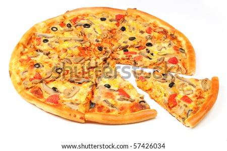 Pizza with the cut off piece - stock photo