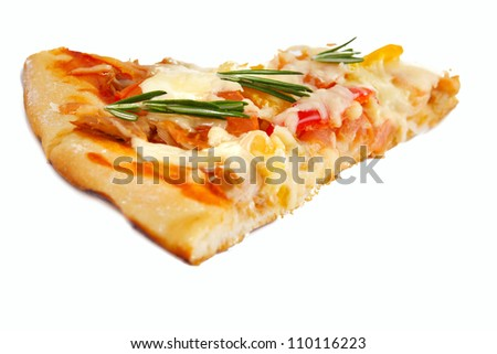 Pizza with tuna and paprika isolated over white background. - stock photo