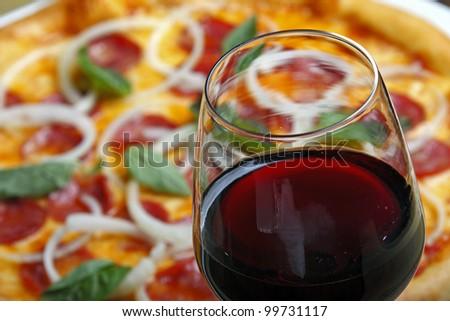 Pizza with wine - stock photo