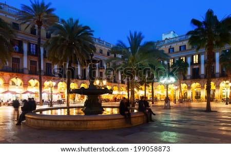 Placa Reial in winter evening. Barcelona, Catalonia - stock photo