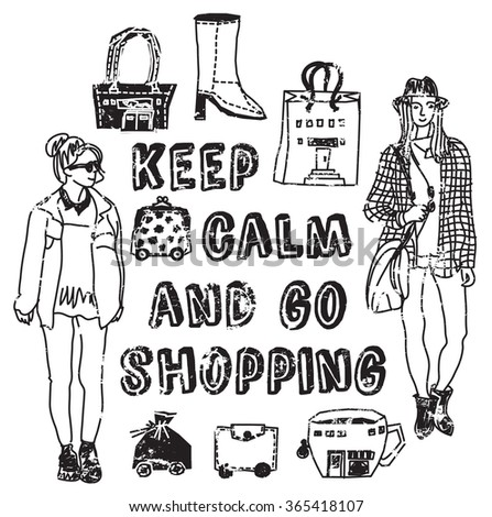 Placard shopping sign woman black and white card. Grayscale illustration.  - stock photo