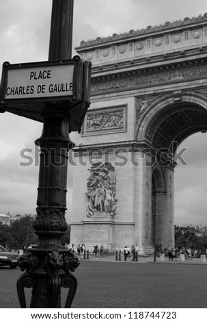 Place Charles de Gaulle street sign in Paris France - stock photo