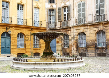 Place d'Albertas in Aix-en-Provence, France - stock photo