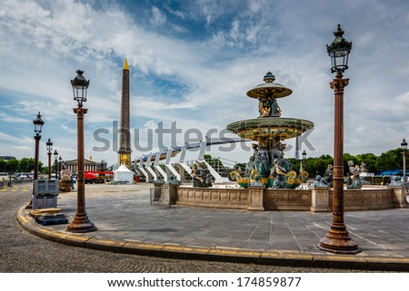 Place de la Concorde on Summer Day in Paris, France - stock photo