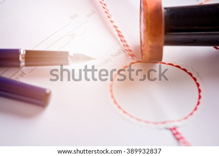 Place for signature of a notary public on the contract. Law office - stock photo