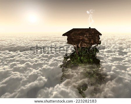 Place in the sun above the clouds - stock photo