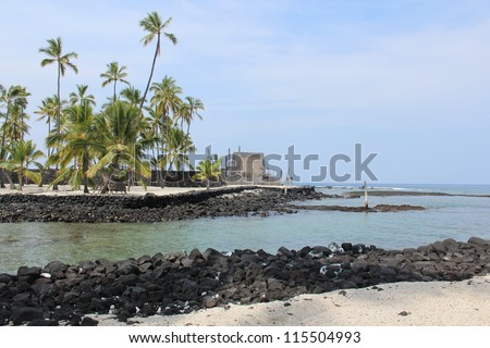Place of Refuge on the Big Island of Hawaii - stock photo