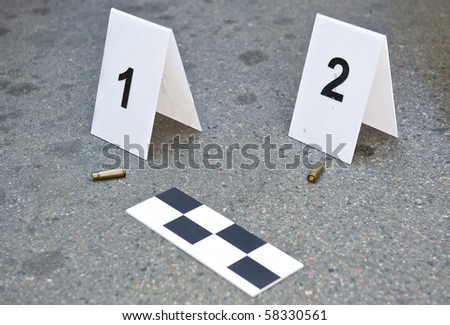 Place of shooting-inspection of the scene - stock photo