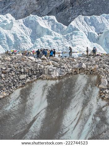 Place of the spring Everest Base Camp (EBC) on Khumbu glacier - Nepal, Himalayas - stock photo