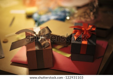 Place of work of gift box designer. Shallow depth of field - stock photo