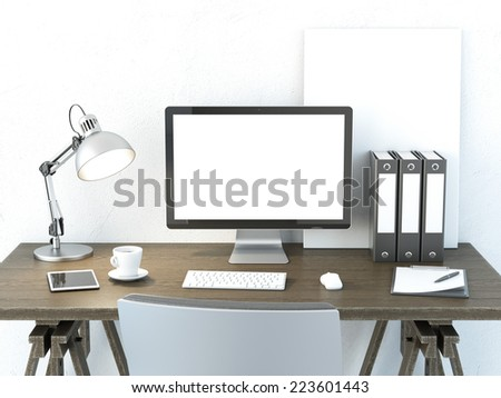 Place of work with computer monitor - stock photo