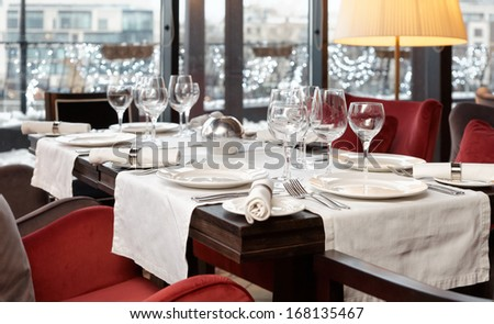 Place setting in an expensive restaurant, selective focus - stock photo