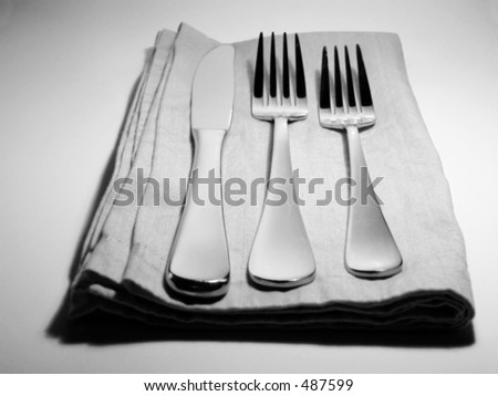 place setting in black and white - stock photo