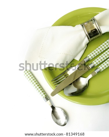 Place setting in green - stock photo