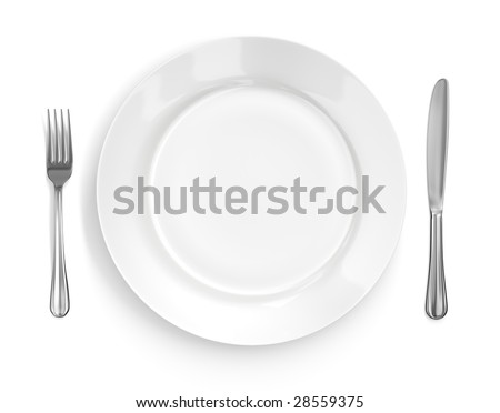 Place setting with high-gloss plate, knife & fork. Isolated on white. Pro clipping path. - stock photo