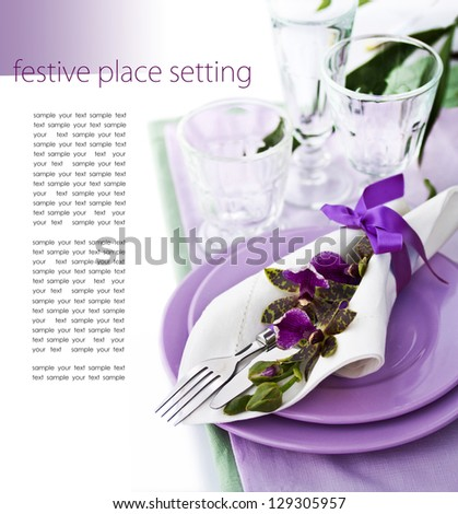 Place Setting with Orchid - stock photo