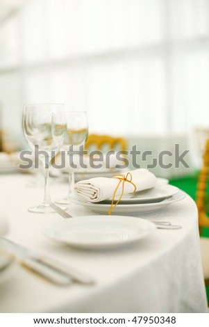 Place settings at a banquet - stock photo