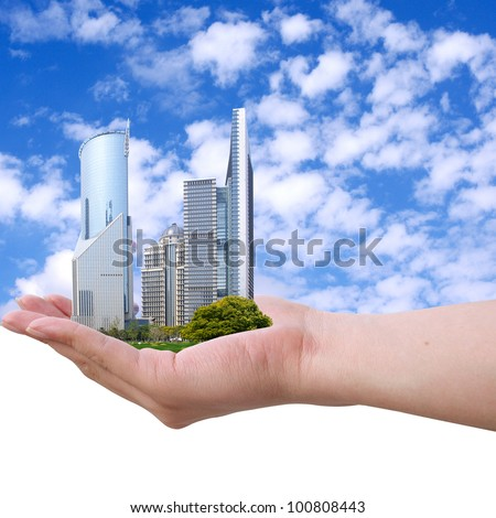 Placed in the hands of the Shanghai grass and towers. - stock photo