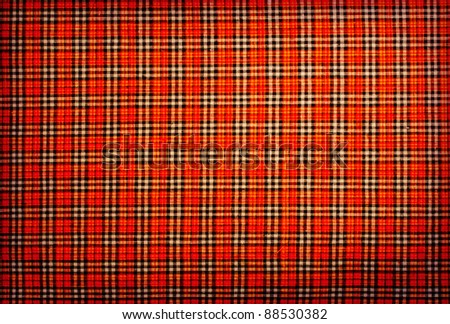 plaid fabric red, orange, black, white, background - stock photo