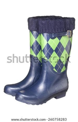 Plaid Rain Boots - stock photo
