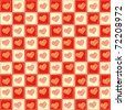 Plaid retro background with hearts - stock photo