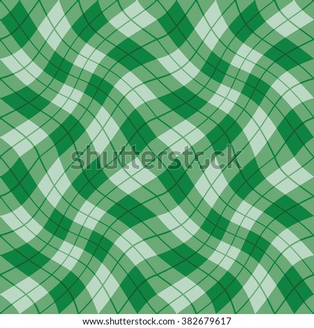 Plaid Twist seamless wavy gingham pattern in shades of green - stock photo