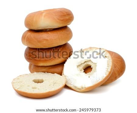 plain bagel isolated on white  - stock photo